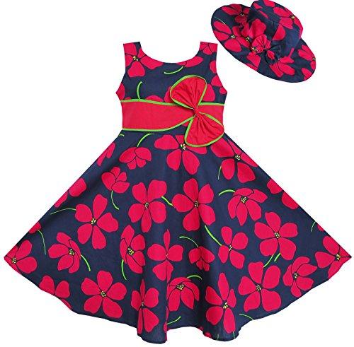 ET34 2 Pecs Girls Dress Sunhat Bow Tie Flower Beach Size 9-10