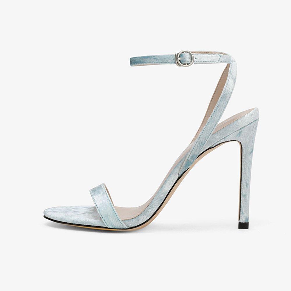 YQQ-Frauen Schuhe Schlanker High Heel Sommer Sandaleen Einzelne Schuhe Weibliche Schuhe Gemütlich Mode Dame Mädchen 10 cm Sexy (Farbe : Blau, größe : EU39/UK6)
