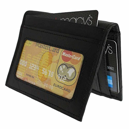 Wallet Men's Lambskin Leather Flip Metal Clip Bifold Multifunctional Wallet-Black