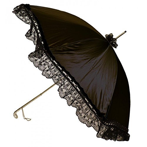 Guy de Jean - Miss Satin Black Parasol with Ruffle and Sculpted Handle - Black by Guy de Jean