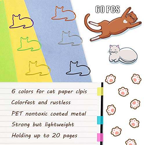 Paper Clips, Cute Cat Shaped Clips, Office Supplies Clips Assorted Colors, Funny Paper Clips for Teacher Notebook Bookmark Decoration,Cat Lover Gifts for Women(60PCS) Photo #3