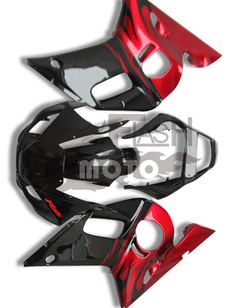 FlashMoto yamaha ヤマハ R6 YZF-600 1998 1999 2000 2001 2002用フェアリング 塗装済 オートバイ用射出成型ABS樹脂ボディワークのフェアリングキットセット (ブラック,オレンジ)   B07LDTSWP4
