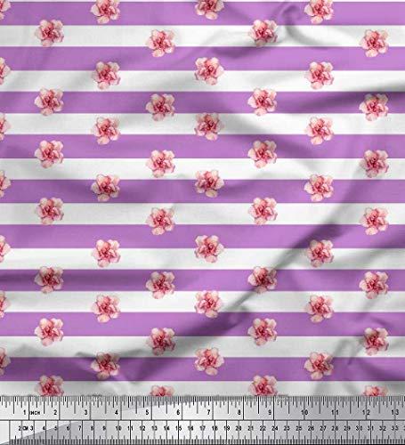 (Soimoi Purple Modal Satin Fabric Stripe & Oleander Floral Fabric Prints by Yard 42 Inch Wide)