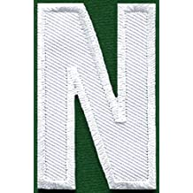 Letter N english alphabet language school white embroidered applique iron-on patch new by TKPatch