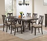 Cheap Kings Brand Furniture – 7 Piece Lynn Brown Wood Rectangle Dining Room Table & 6 Chairs