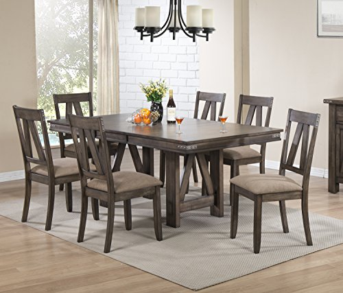 Kings Brand Furniture 7 Piece Lynn Brown Wood Rectangle Dining Room Table & 6 Chairs ()