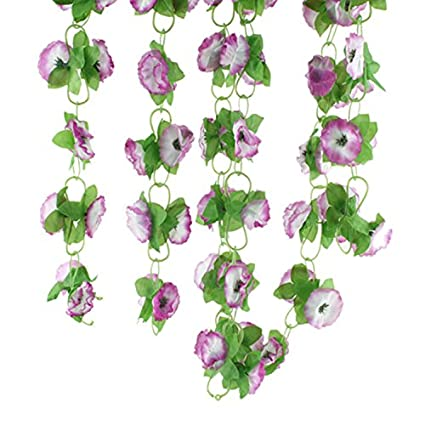 Amazon lqztm artificial lilac silk flower green leaf vine lqztm artificial lilac silk flower green leaf vine garland home wall party decor mightylinksfo