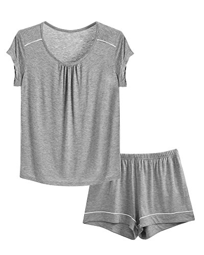 GYS Women's Scoop Neck Short Pajamas (S, Heather Grey)