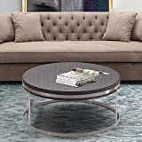 Armen Living Sunset Coffee Table with Grey Wood and Brushed Stainless Steel Finish