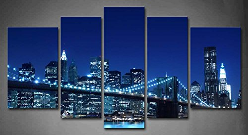 Blue Brooklyn Bridge And Manhattan Skyline Night New York City Light