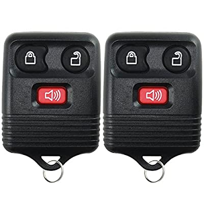 2 Replacement Keyless Entry Remote Control Key Fob Clicker Transmitter 3 Button - Black: Automotive