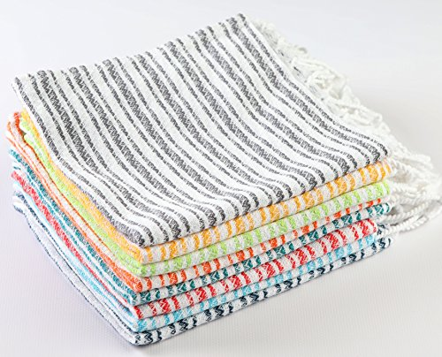 Sualla 100% Cotton - Istanbul Hand Turkish Towel - Hair Face Baby Care Kitchen Tea Dish - 16X36 Inches, (Coral, Teal, Orange, Pistachio Green, Yellow, Anthracite, Turquoise, Dark Blue) (Set (Monogrammed Terry Cloth Beach Towel)