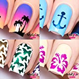 Whats Up Nails - Nail Vinyls Variety Pack 4pcs (Anchor, Palm, Hibiscus, Butterflies Nail Stencils), Stickers for Nail Art Design
