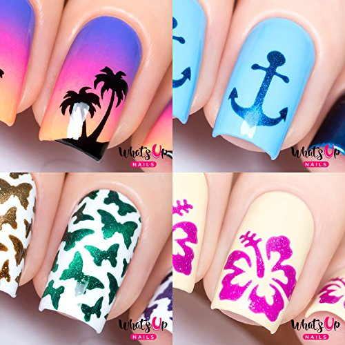 Whats Up Nails - Nail Vinyl Stencils Variety Pack 4pcs (Anchor, Palm, Hibiscus, Butterflies) for Nail Art -