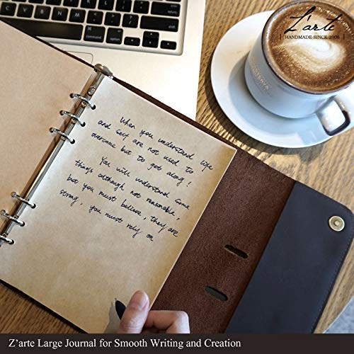 Personalized Leather Notebook Journal Refillable, with Pen Loop Writing Bound Diary Book for Men Women, Padfolio Unlined Paper Handmade Genuine Leather Travel Notepad Cover, 160 Pages A5 Customs Gift by Z'arte (Image #1)