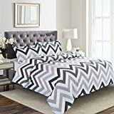 100% Cotton, 3pcs Zig Zag Duvet Cover Set, White with Gray/Grey Blue Chevron Modern Pattern Printed Bedding (Queen Size)