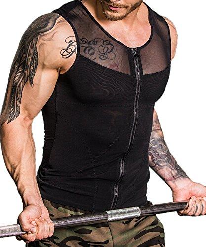 NOVECASA Kompressions Unterwäsche Herren mit Reißverschluss Ärmelloses Shirt für Masking Gynäkomastie Sport Lätzchen Moobs Schnelltrocknend für Gym Fitness Yoga