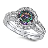 Halo Split Shank Wedding Engagement Ring Round Simulated Rainbow Topaz 925 Sterling Silver, Size - 10