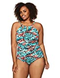Coastal Blue Women's Plus Size Control Swimwear Cutout-Neck One Piece Swimsuit, Spotted, 2X (20W-22W)