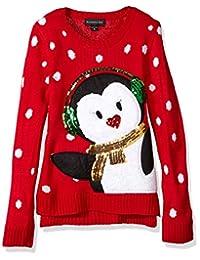 Blizzard Bay Big Girls' Earmuff Penguin Xmas Sweater