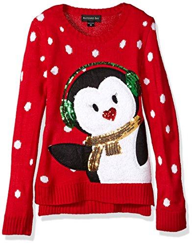 Girls Christmas Sweater - Blizzard Bay Girls' Big Earmuff Penguin Xmas Sweater, red Combo, L 14
