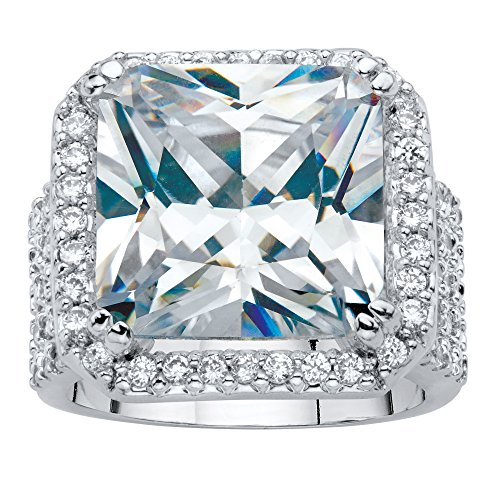 Silver Tone Princess Cut Faceted Cubic Zirconia Halo Octagon Ring Size (Princess Cut Cocktail Ring)