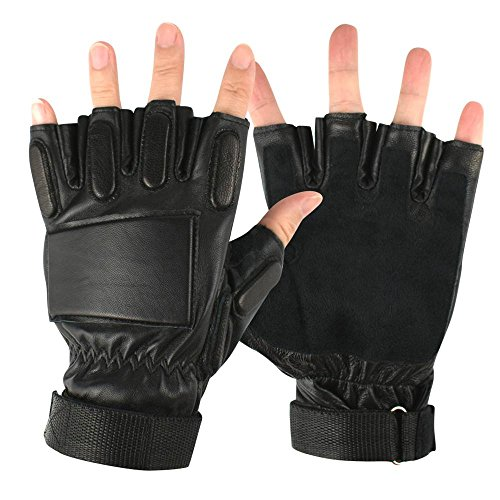 Anccion Genuine Leather Motorcycle Fitness Gym Cycling Hunting Driving Weigt lifing Gloves With Long Wrist Strap Wrap Support,Training gloves ,Workout Gloves (black, Large)