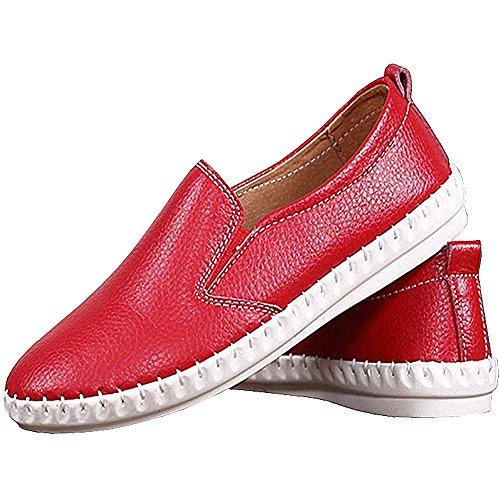 Lisianthus Kvinna Avslappnad Slip På Pu Flat Loafer Röd