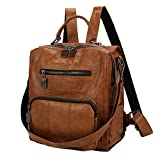 Mynos Women Backpack Purse Leather Handbag Bag Ladies Rucksack Travel Tote Shoulder Bag (Brown)