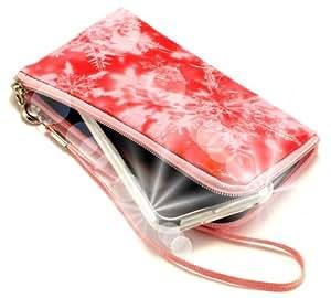 """""""Secreto"""" Rojo, Lujosa billetera acolchado con cierre, acabado brillante para Alcatel OT-E221. Auténtica Funda / Estuche con correa para transportar para teléfonos móviles."""