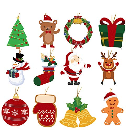 Christmas Gift Tags with String, Glitter Hanging Tag for Xmas Tree Decoration Festival Present Wrap Label Package Name Card Party Supplies, 72 Pack