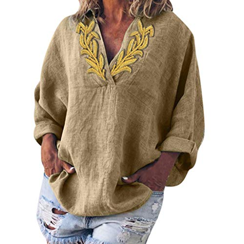 TWGONE Loose V Neck T Shirts Women Long Sleeve Summer Appliques Cotton And Linen Tops Blouse (X-Large,Khaki) ()