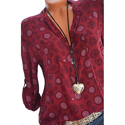 Longues Chemise Blouse V Veste Kangrunmy Sweatshirt Sweat Tops Manches Hauts Tunique Casual T Femme Col Mode Mousseline Manteau Fluide Shirt Chic Chemisier F w00ZqxvX