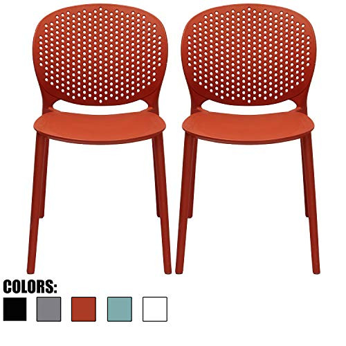 (2xhome Set of 2 Dark Orange Contemporary Modern Stackable Assembled Plastic Chair Molded with Back Armless Side Matte for Dining Room Living Designer Outdoor Garden Patio Balcony Office Desk)