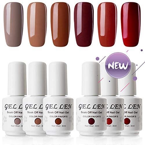 Gellen UV LED Gel Nail Polish Set Caramel Colors Series - 6 Colors 8ml Each, Popular in Autumn Winter Home Gel Manicure Kit