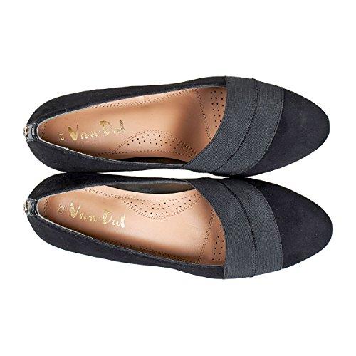 punta patente cerrada Van negro Los Dal mujer de color gamuza negra para talones de wOxEEF6qRn