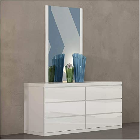 Amazon Com Whiteline Contemporary Modern Anna High Gloss Dresser With Full Extension Drawers Double White Furniture Decor
