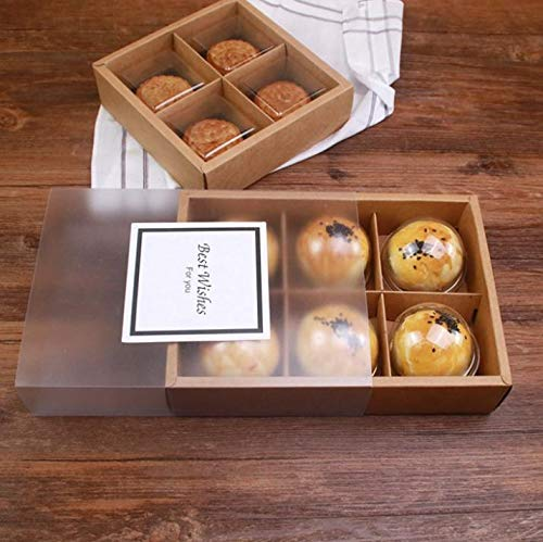 Frosted Puff - Gift Bags Wrapping Supplies - 4 And 6 Pack Drawer Kraft Paper Mid Autumn Festival Moon Cake Box Frosted Transparent Egg Yolk Puff - Packaging Elegant Package Plastic Communion Chinese Mooncake Ac