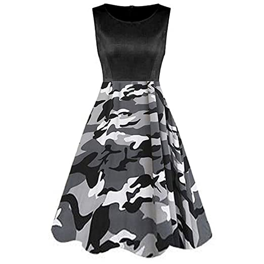 bed73c110305 Amazon.com: Ximandi Women's Vintage Sleeveless Cocktail Swing Dress Casual  Camo Print Princess Dress: Clothing