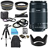 Pro Shooters Package for Canon Rebel SL1: Includes 1x Canon EF-S 55-250mm f/4.0-5.6 IS II Telephoto Zoom Lens, 1x Ultra High Speed 32GB SDHC Memory Card, 1x USB SD Card Reader, 1x Hard Tulip Lens Hood, 1x 72'' Professional Tripod, 1x Deluxe Back Pack, 1x 2