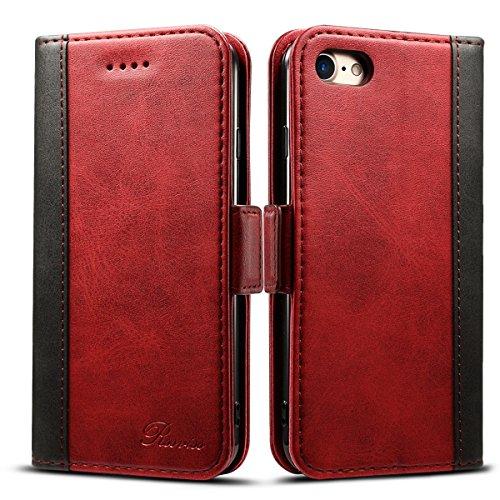 iPhone8 ケース 手帳型 iPhone7ケース Rssviss アイフォン7 ケース iPhone 8 ケース ワイヤレス充電対応 マグネット W3 レッド(iPhone8&iPhone7対応)【4.7inch】