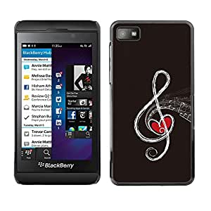 KLONGSHOP // Cubierta de piel con cierre a presión Shell trasero duro de goma Protección Caso - Nota musical - Blackberry Z10 //
