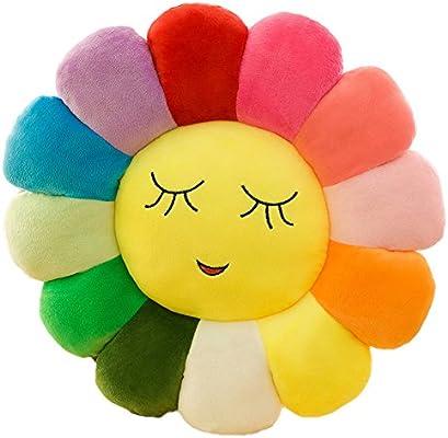 Amazon.com: Flor Almohada de piso felpa suave arco iris ...