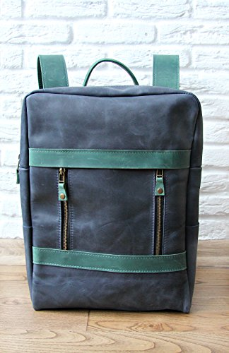 9f4825e983b8 InCarne Leather Unisex Backpack Rucksack Soft Leather Daypack Daysack  (01001) (Blue - Green)