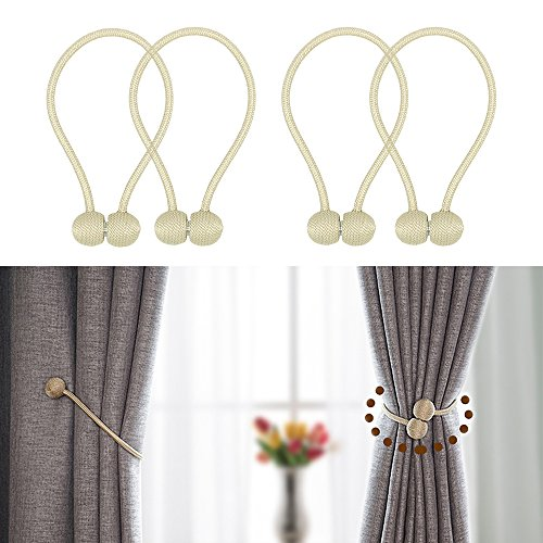 JQWUPUP Magnetic Curtain Tiebacks - Classic Decorative Drapery Drape Holdback Holders - Curtain Tie Backs Clips Rope for Sheer and Blackout Panel (4 Pieces, Beige) (Decorative Holdback)