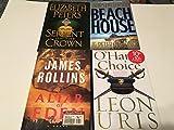4 HARDCOVER BOOKS JAMES ROLLINS,LEON URIS,ELIZABETH PETERS,JAMES PATTERSON