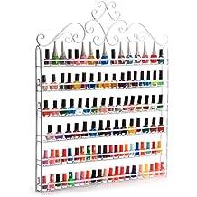Dazone® Wall Mount 6 Tiers Nail Polish Rack Organizer Hold 120 Bottles Nail Polish Shelf White