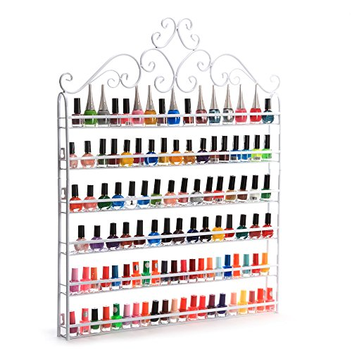Dazone Wall Mount 6 Tiers Nail Polish Rack Organizer Hold 120 Bottles Nail Polish Shelf White