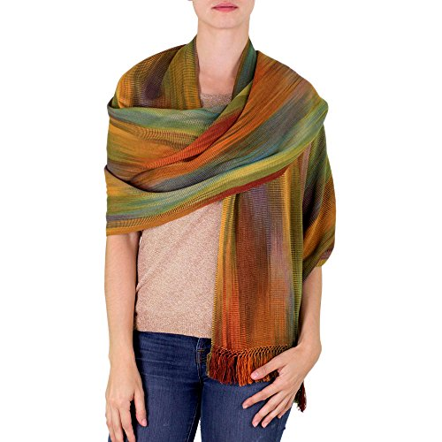 NOVICA Multicolor 100% Bamboo Fiber Wrap Shawl, 'Nature's Ethereal Inspiration'