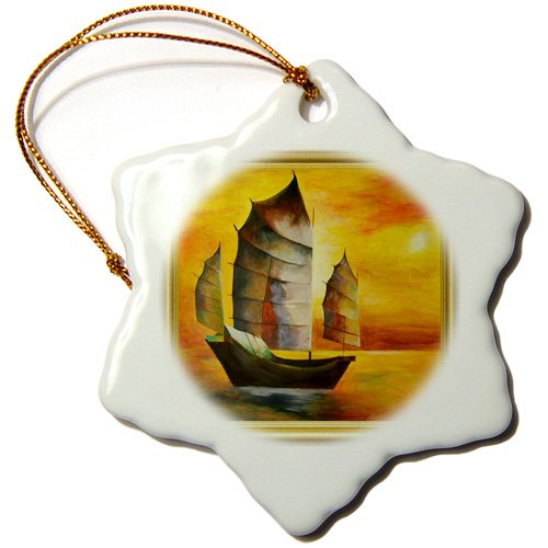 Taiche - Acrylic Painting -Sail Boat - Chinese Junk- sail boat, acrylic painting, sails,junks, brown, realism, sailors, nautical, boating - Ornaments - 3 inch Snowflake Porcelain Ornament (orn_78702_1)